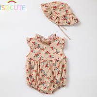 ISOCUTE 2 Pcs Set Cotton Baby Girl Clothes Hat Sweet Floral Infant Summer Clothing Kids Sun