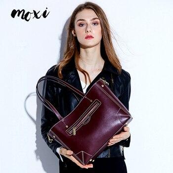 Moxi Vintage Genuine Leather Women Handbags All-match Bucket Female Shoulder Messenger Bags Wine Red Brown Women Tote