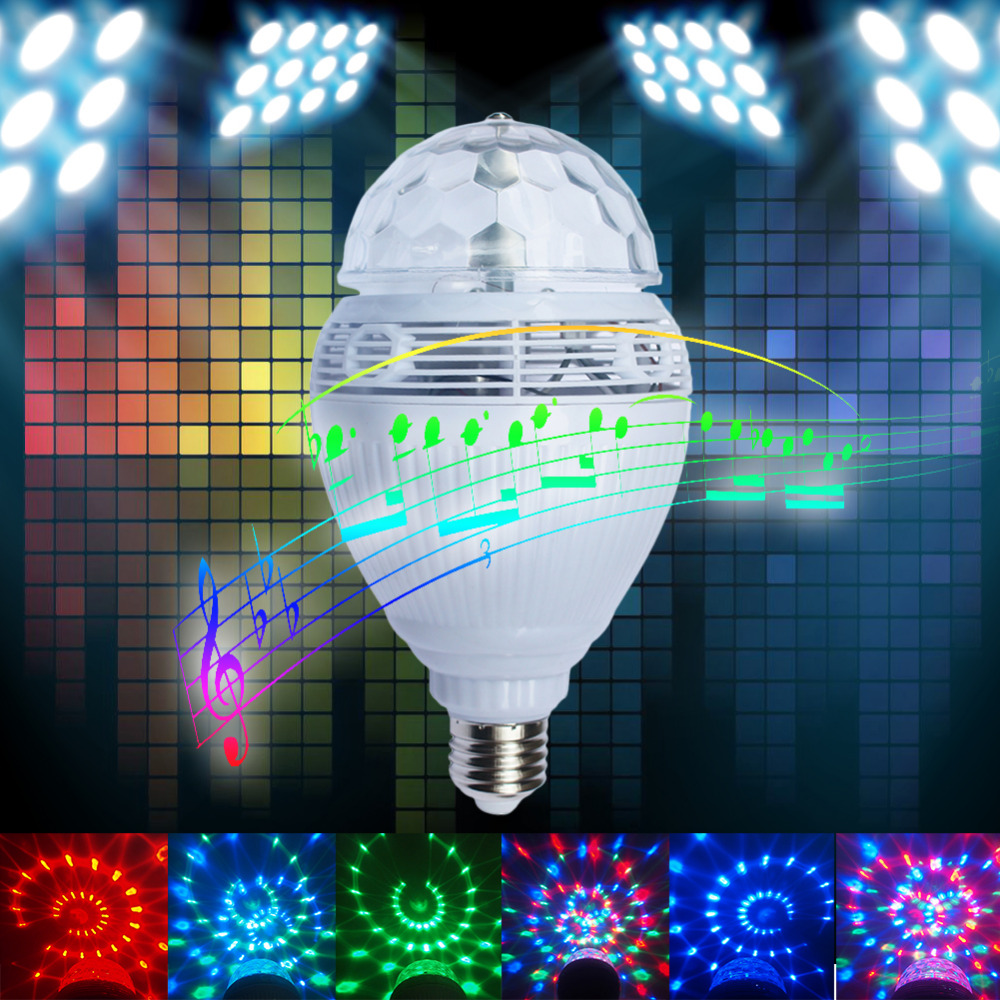 Smart E27 RGB Bluetooth Speaker LED Bulb Light Remote Control Dimmable Wireless Music Playing Leds Lamp Auto Rotation smart bulb e27 led rgb light wireless music led lamp bluetooth color changing bulb app control android ios smartphone