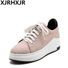 XJRHXJR Spring Autumn Platforms Shoes Fashion Lace Up Flat Heel Women Casual Shoes Students Round Toe Size 31-43 Big Size Shoes цены онлайн