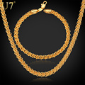U7 Necklace Set Men Jewelry Gift Wholesale Gold Plated Trendy Round Chain Necklace Bracelet Jewelry Sets S471