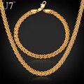 U7 conjunto colar de presente da jóia dos homens por atacado banhado a ouro na moda rodada cadeia colar pulseira conjuntos de jóias s471