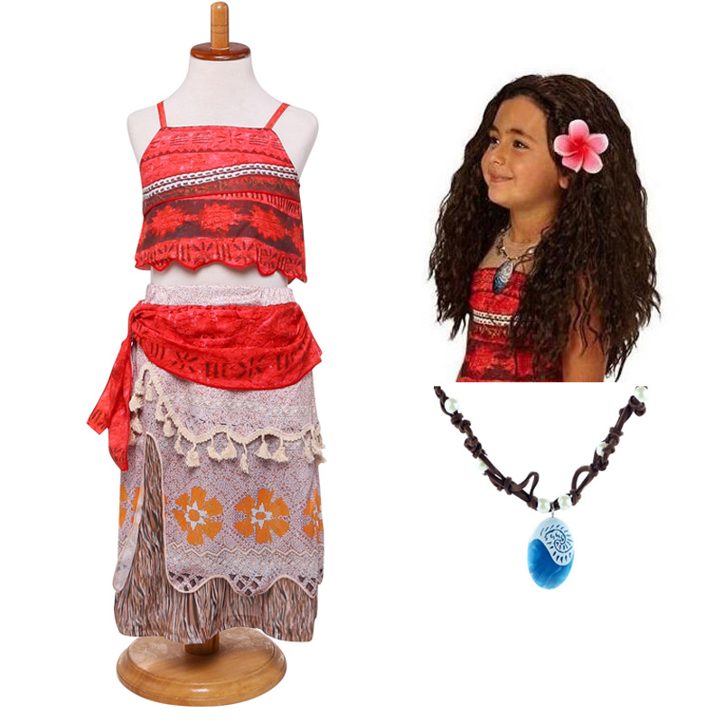 2018 Summer Moana Dress for girls Moana Vaiana Princess Dresses Kids Party Cosplay Costumes With Wig Children Clothing clothes trolls wig dress set new year costumes for girls halloween carnival dresses moana clothes children vaiana party dress vestidos