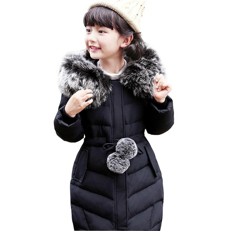 5~12T Teenage Big Girls Winter Down Jackets for the Girl Outerwear with Fur Coat Long Style Parka Manteau Fille Hiver Slim Fit