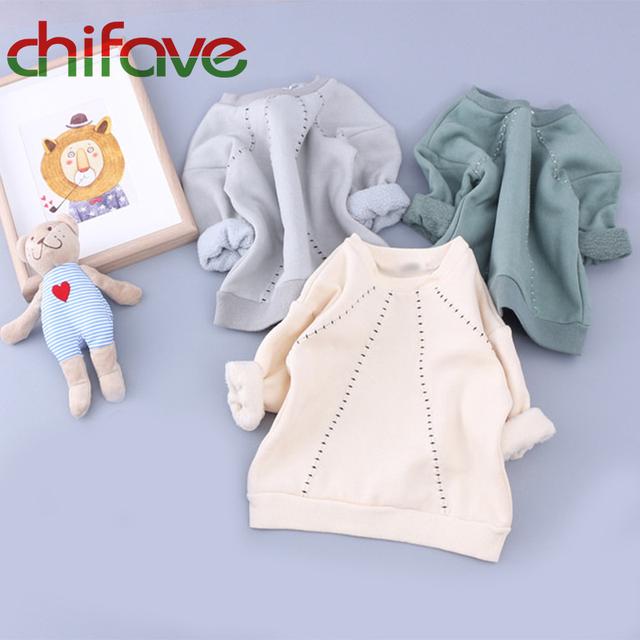 Chifave 2016 Outono Inverno Quente Grossa Crianças Unissex Roupas O-pescoço Colarinho Pullover Bebê Das Meninas Dos Meninos Pullover Camisola 3 Cores