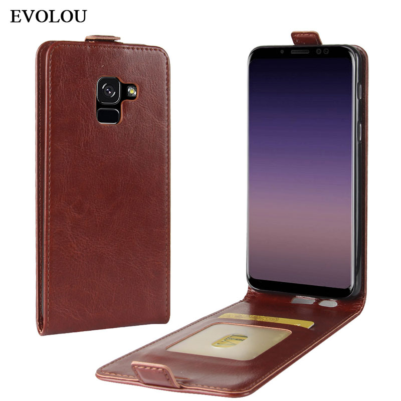 Vertical Phone Cover Bag For Samsung Galaxy A8 2018 Flip Leather Case for Samsung A8 Plus 2018 SM-A730F SM-A530F Phone Case