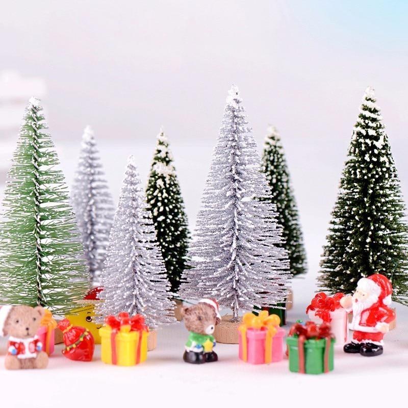 Christmas Miniatures.Us 2 0 20 Off Christmas Tree Mini House Miniatura Fairy Garden Ornament Craft Decor Miniature Dollhouse Home Decoration Diy Accessories In Figurines