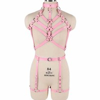 Leather Body Harness Bra Women Sexy Full Bondage Lingerie Set Punk Gothic Strappy Tops Cage Harnesses Adjust Size
