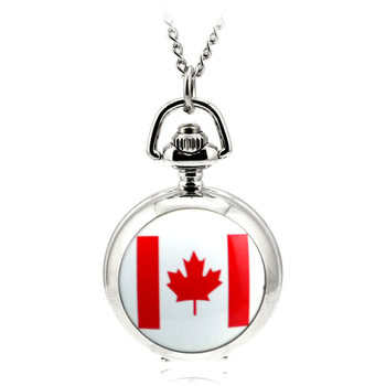 A173 Fashion Ceative Silver Quartz Pocket Fob Watch Necklace Pendant Relogio De Bolso Women Pendant Necklace Watch Canada Flag
