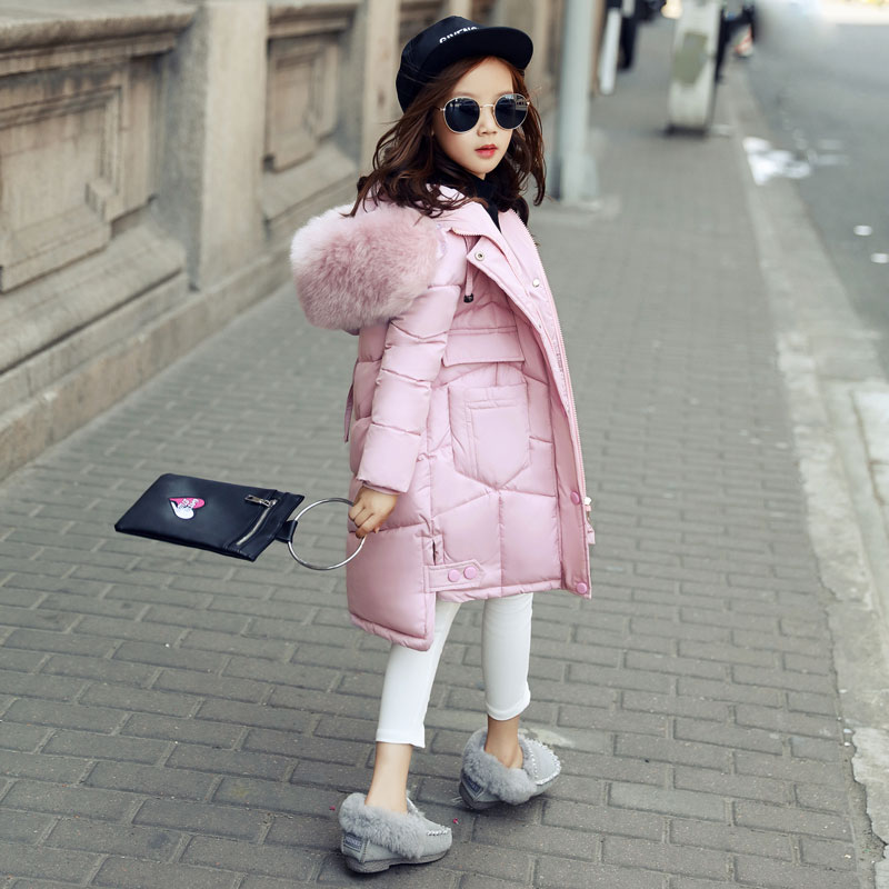 2017 Children Winter Coat Outwear Girl Winter Jacket Kids Warm Thick Fur Collar Hooded long down Coats For Teenage 4Y-14Y Parka russia winter boys girls down jacket boy girl warm thick duck down