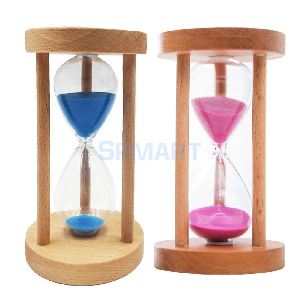 2pcs 10 Mins Wooden Framed Sand Glass Clock Hourglass Sandglass Timer Art Craft Home Office Decor Kids Gift