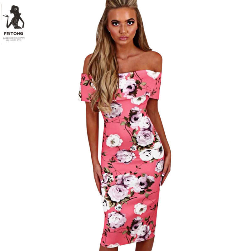 Feitong women floral print sexy off shoulder blackless bodycon dress ...