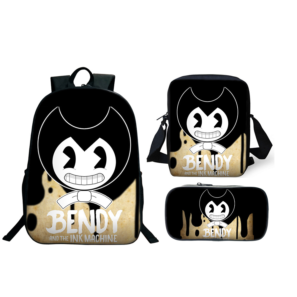 Hot 3pcs/Set School Bag Bendy And The Ink Machine Backpack Children Combination Bookbag Boys Girls School Backpack Daily Mochila