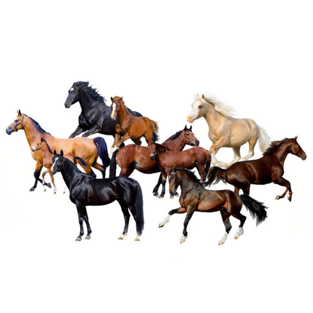 China Wind Office Inspirational 3D Horse Wall Stickers Study Bedroom Decoration Living Room Television Background Wall Stickers