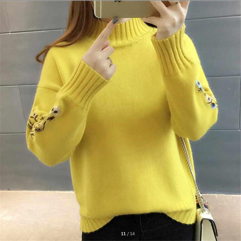 높은 품질 여성 패션 2018 터틀넥 스웨터 여성 상위 여자 긴 소매 따뜻한 스웨터 수 놓은 니트 풀 오버 b3965