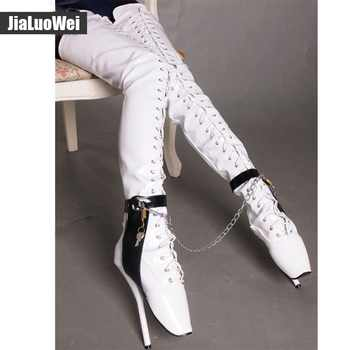 Jialuowei 18cm/7 inch High Heel Over-the-Knee ballet heels black thigh high boots Sex fetish Thin heel crotch Lockable boots