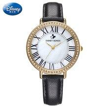 Disney бренда девушка наручные часы Женский мультфильм анимация Микки Римские алмазы 30 м водонепроницаемый кварцевые часы Кожа