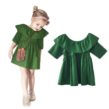 2016 Spring Autumn Children's Clothes Fashion Girl Tutu Dress Girls Wood Ear Europe Green Party Dress 1-4Y