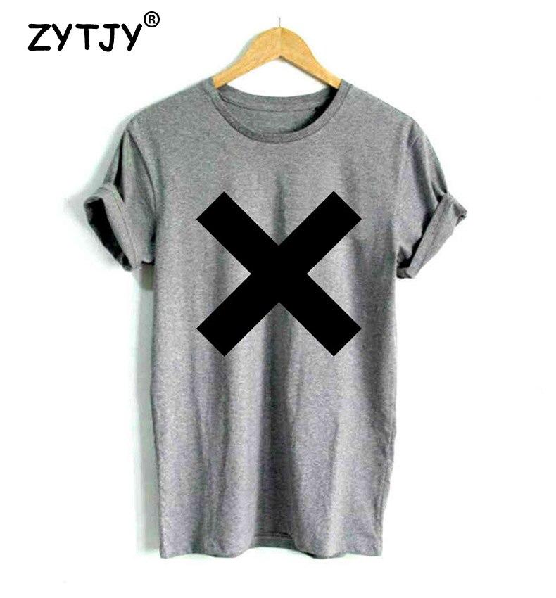 X Kreuz Druck Frauen T-shirt Baumwolle Casual Hipster Shirt Für - Damenbekleidung - Foto 3