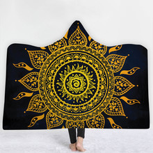 Indian Mandala Hooded Blanket for Adults Kids Pink Blue Sherpa Fleece Woman Throw Blanket Flannel Bohemian Hooded Bathrobe