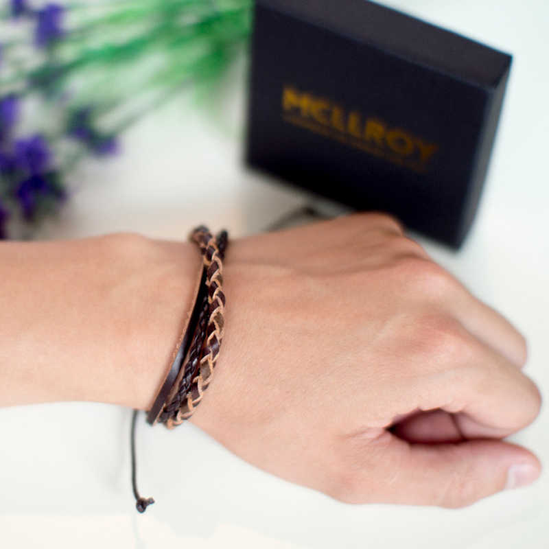 Mcllroy Leather bracelet men Cotton rope Braided Woven Leather Handmade Men Women Couple bracelets pulsera hombre 2019 jewelry