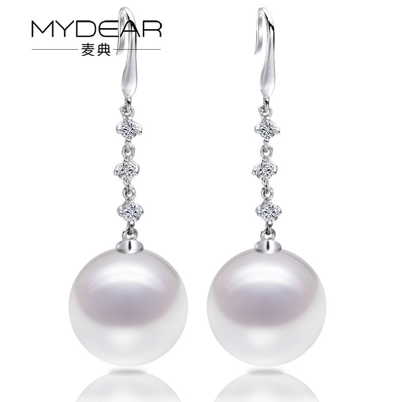 MYDEAR Pearl Jewelry 100% Real White 9-9.5mm Freshwater Pearl Drop Earrings Jewelry Earrings,Perfectly Round,High Luster Pearl faux pearl pompon round drop earrings