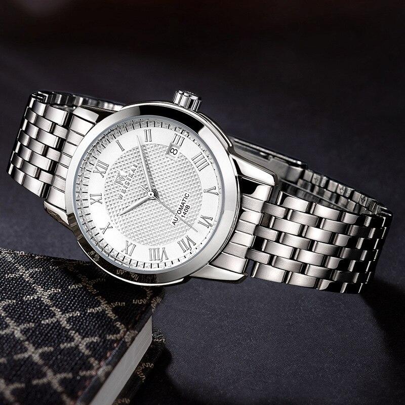 2018 Zegarki Meskie Men Classic Business Watch Luxury Automatic Mechanica Watches Mens Fashion Calendar Steel Strap Wristwatch