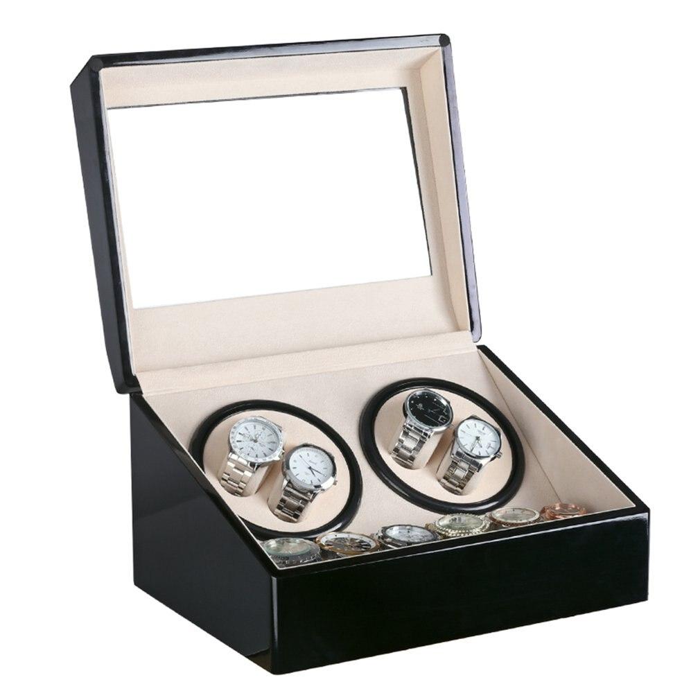 US/EU/AU/UK Plug 4 + 6 automatique mécanique noir de luxe montre remontoir haute classe moteur Shaker montre boîte affichage de porte-bijoux