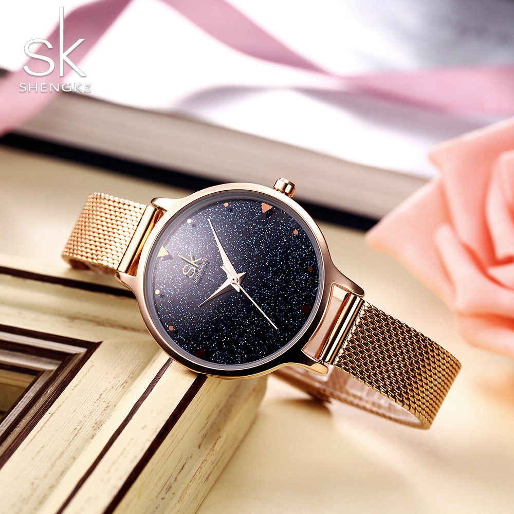 SHENGKE Fashion Elegant Quarts Kvinnor Watch Rose Gold Women - Damklockor