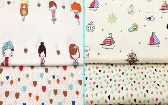 Great 40x50cm Cartoon Gir Best Friends Heart & sailing ship Fabric Bundle For DIY sewing Doll Cloth