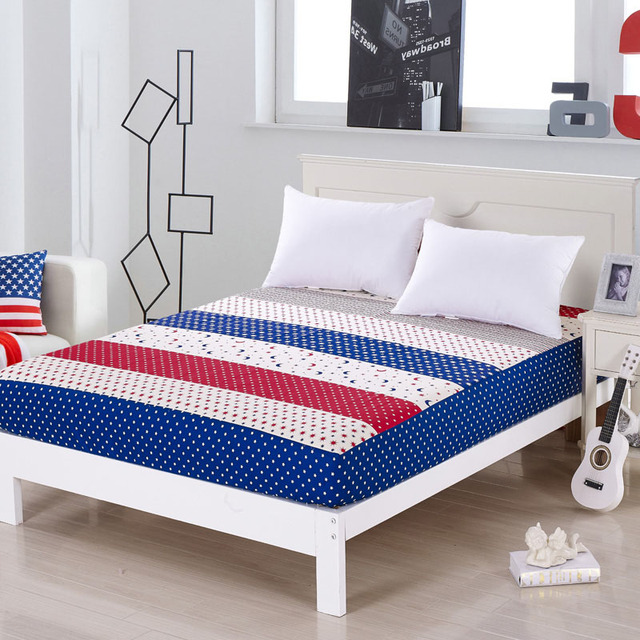 Monily Striped 100% Cotton Bed Sheets Home Textile Bedding Coverlet Striped  Fitted Sheet Flag Bed