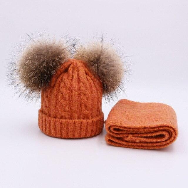 b7f933943 Children kids Winter Hat Scarf set Double Raccoon Fur Ball Hat Pom ...