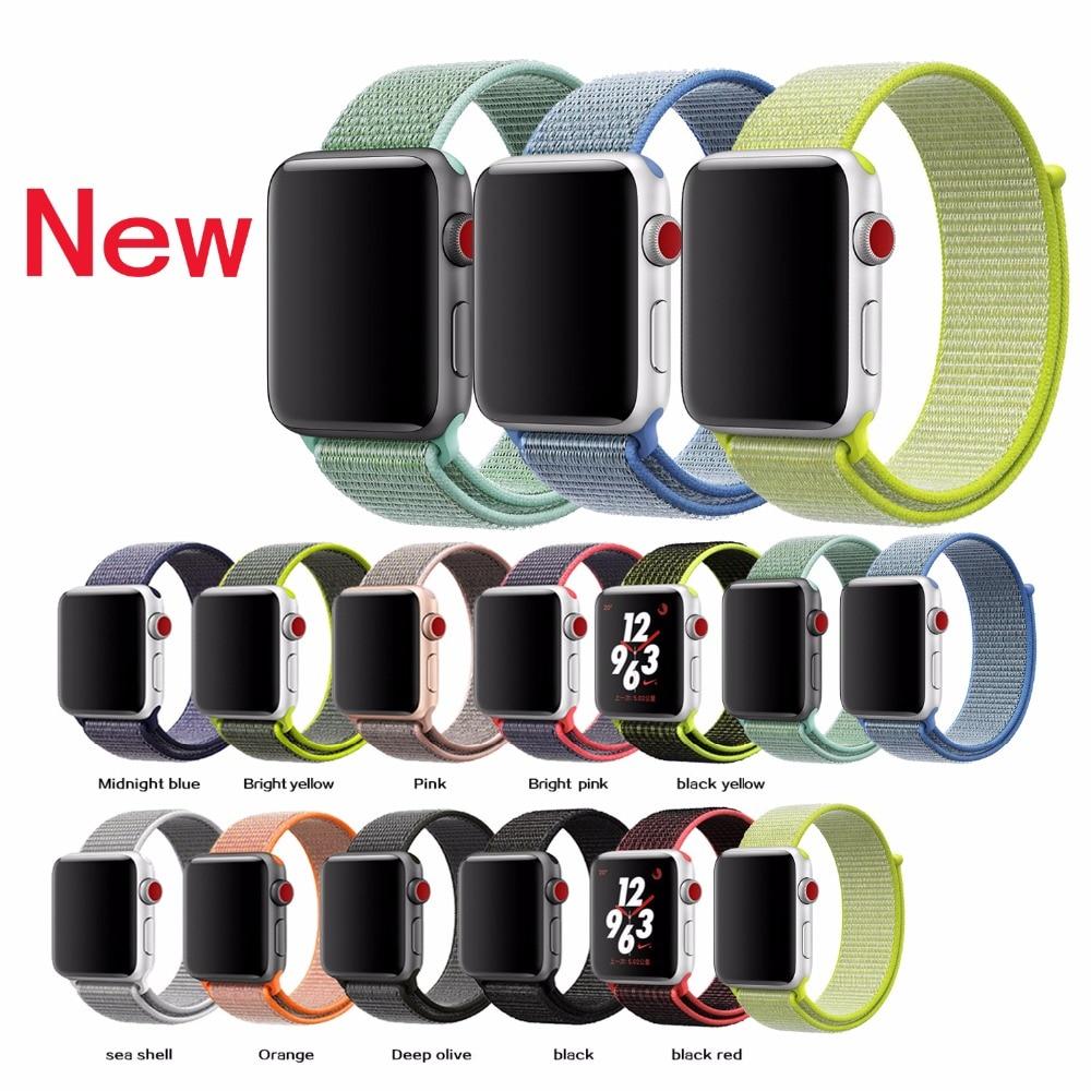 Joyozy Sport loop For Apple Watch band 42mm 38mm iWatch 3/2/1 nylon watch strap bracelet watchband hook-and-loop closure clasp survival nylon bracelet brown