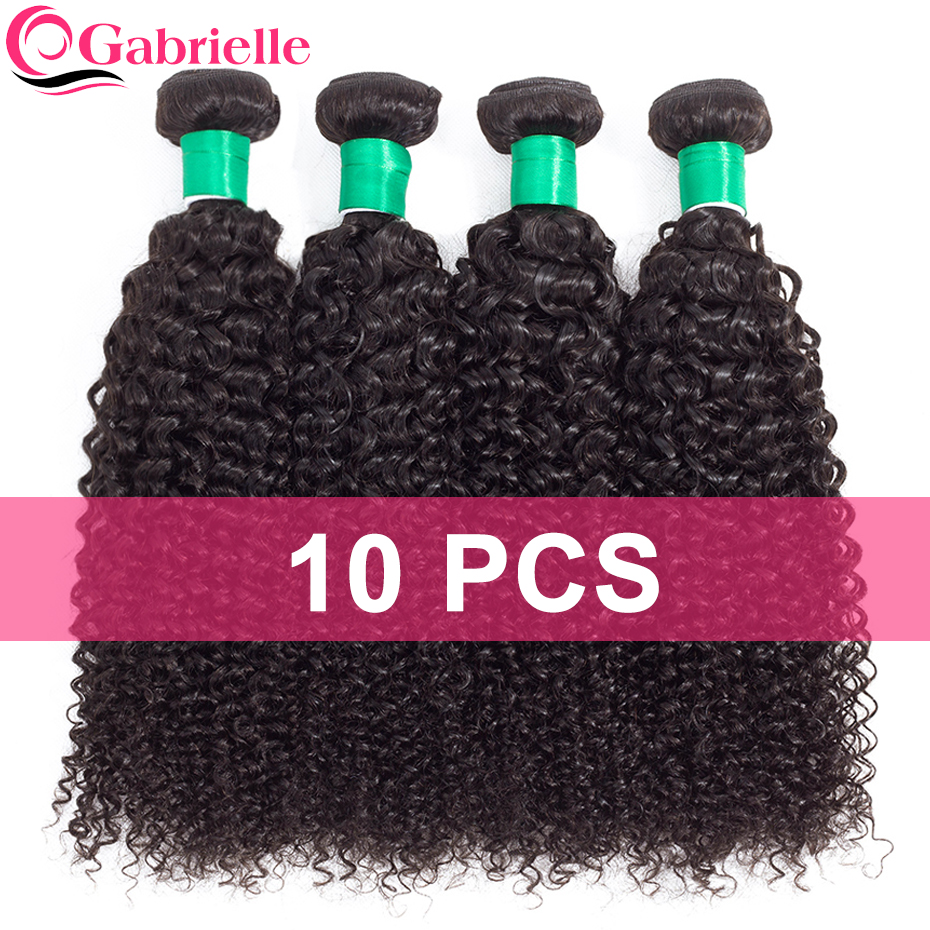 Gabrielle Human Hair Malaysian Kinky Curly Hair Bundles 10 pcs Natural Color Double Weft Non remy