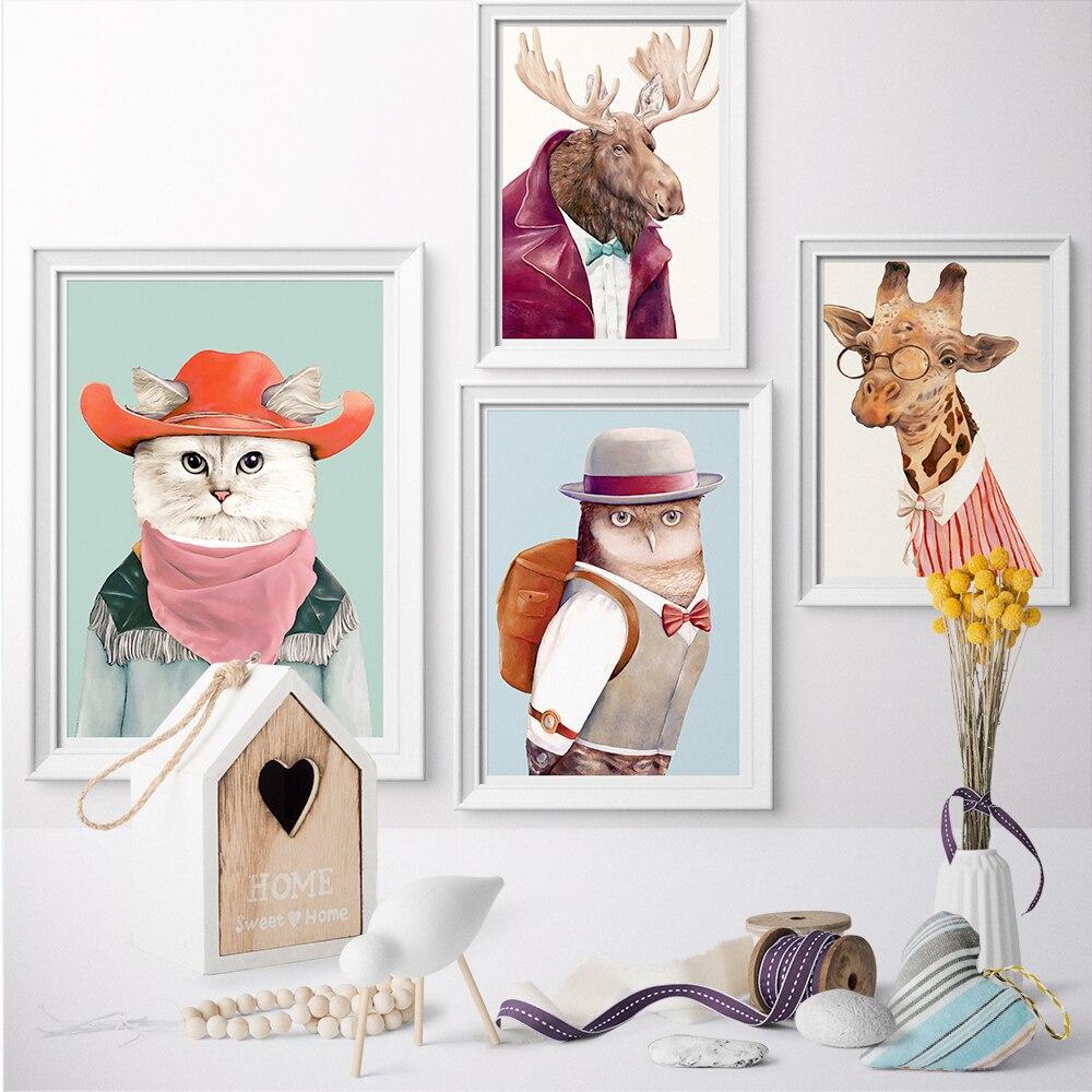 Wall Art Canvas Fashionable Cute Anima Cat Dog Giraffe