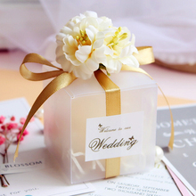 50Pcs/lot Romantic Candy Boxes PVC Transparent Wedding gift box baby shower boy Girl favor boxes packaging bag Party Supplies