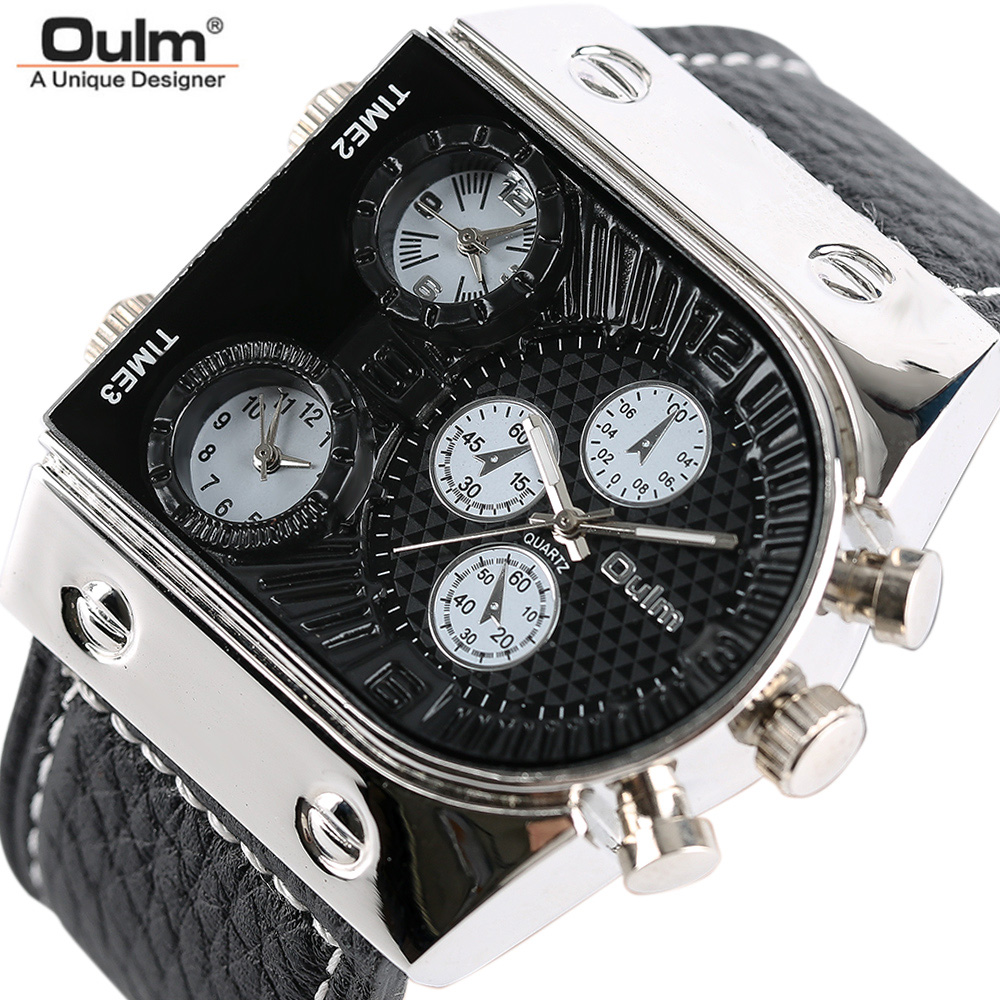 Top Brand OULM Quartz Big Watch for Men Sport Quartz Wristwatches Casual Special Design Army Analog Japan Movement Male Clock brand oulm 9316b japan movt big face watches men triple time rose gold luxury analog digital casual watch relogio male original