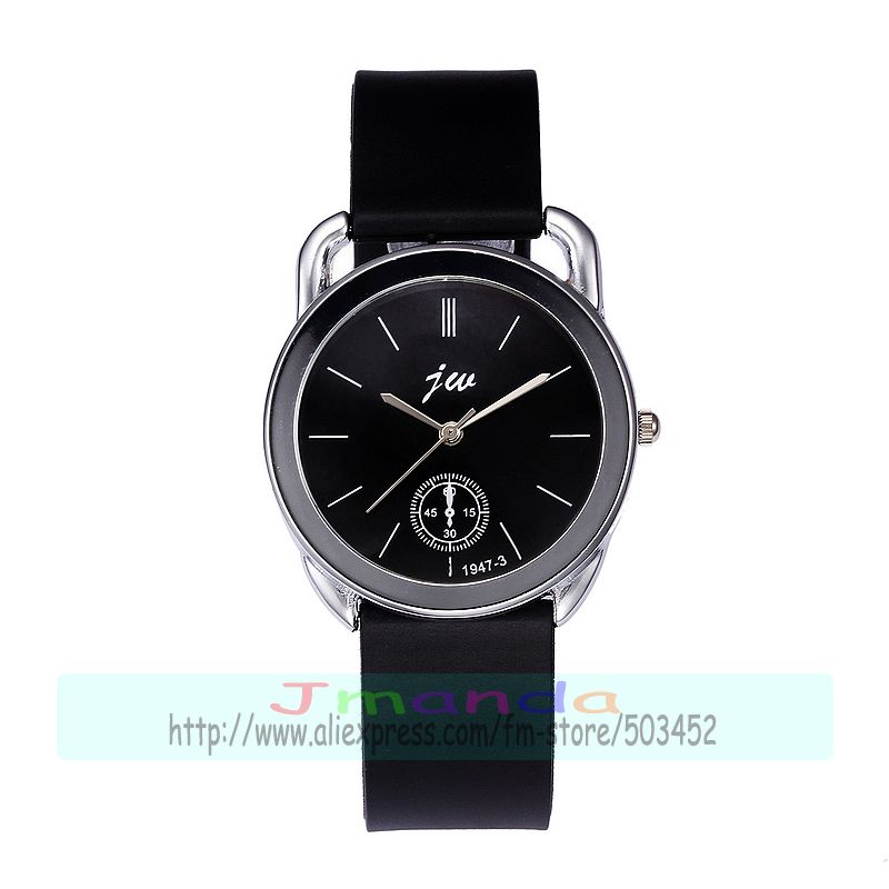 100pcs/lot jw-1947-3 fashion black belt silicone couple watch black white dial quartz casual wrist watch wholesale lover's watch