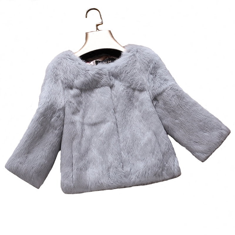 Whole skin leather natural rabbit fur coats outerwear women O neck 9/10 sleeve real fur jackets plus size S - 6XL customize size