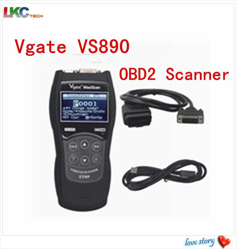 Цена за + Quaility Vgate MaxiScan VS890 OBD2 Code Reader Универсальный OBD2 Сканер Автомобиля Диагностический Инструмент Vgate MaxiScan VS890 VGATE VS890