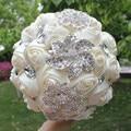 100% cuadro verdadero Moldeado Cristalino Wedding Flowers Bouquet Ramo de Novia Broche de dama de Honor 2017 Nuevo Buque De Noiva WB005