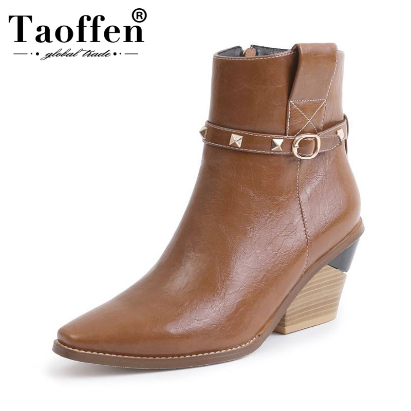Taoffen High Quality Pu Leather 4 Colors Ankle Boots Buckle Sexy Ladies Shoes Women Western Style Brand Winter Boots Size 34-44