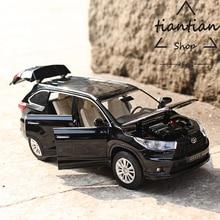 1:32 внедорожник Toyota Highlander детские игрушки сплава модели автомобиля металлический материал задерживаете 6 открыть дверь дизайн бизнес автомобиля