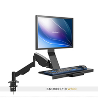 Free Lifting Full Motion Desktop Monitor Holder +Keyboard Holder Gas Spring Arm Work Table Sit stand Workstation PS Stand