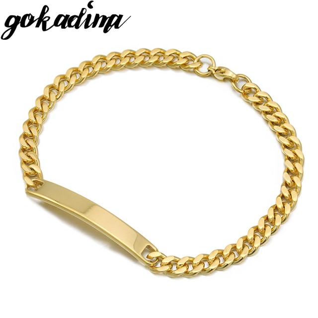 Gokadima Gold Color Stainless Steel Bracelet Women Jewelry Curb Chain Blank Id 2017 Fashion Jewellery