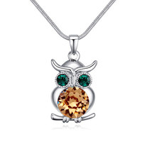 Natural Crystals Owl Long Necklaces Pendants For Women Mother Girl Gifts Fashion From Swarovski Element Crystal