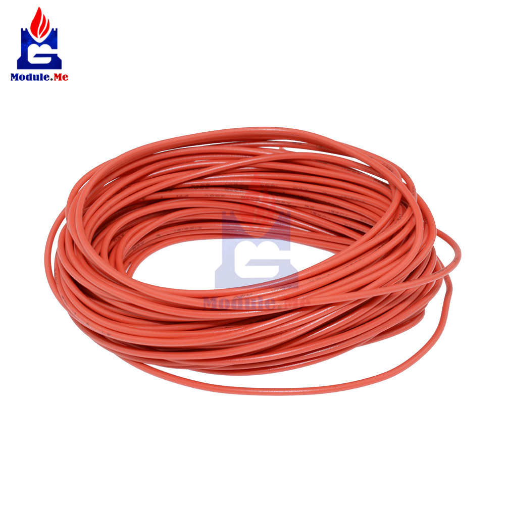 UL-1007 10M 24AWG Hook-Up Wire 80C/300V Cord Red Electrical Line