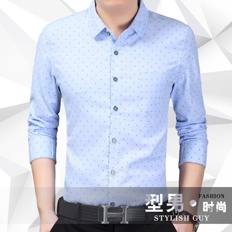 2018 Business Youth Fashion mens shirts Casual Print Small Floral long sleeve shirt Korea Style Slim shirts Mens Tops XL7306