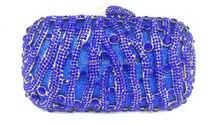 Freies verschiffen!! A15-27, blaue farbe mode top kristallsteinen ring handtaschen für damen nette parteibeutel