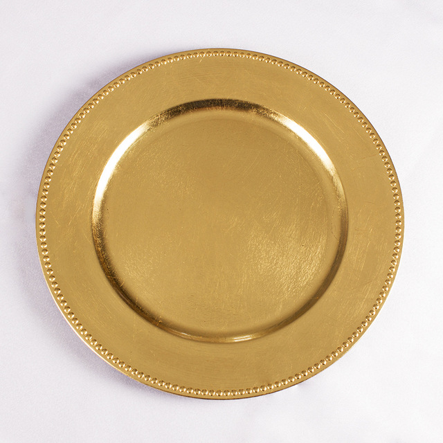 4 Pcs Clic Charger Plates Service Dinner Gold Silver Plate Wedding Party Holiday